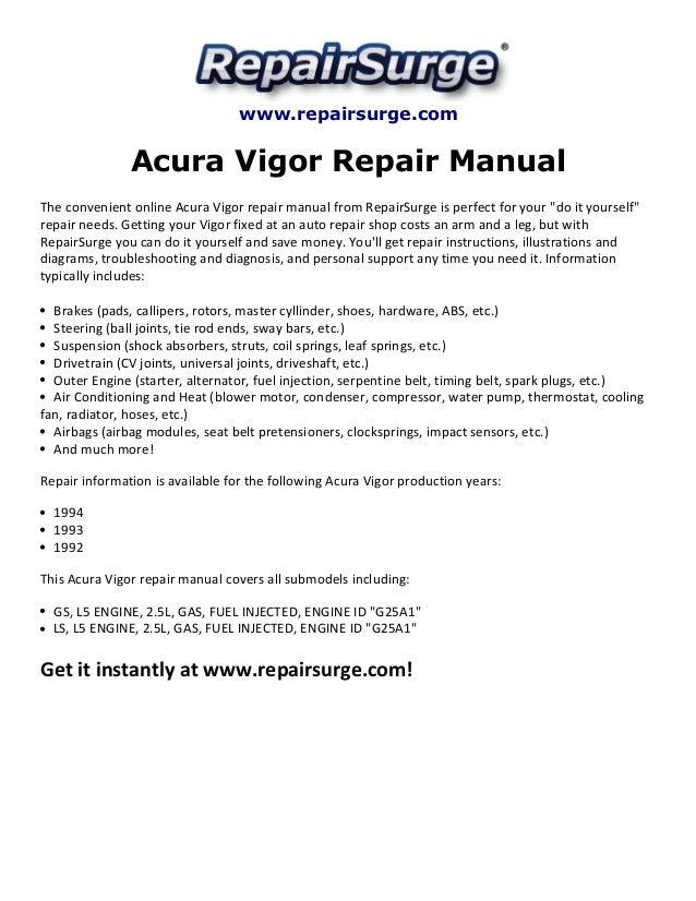 acura vigor repair manual 1992 1994 rh slideshare net 1994 Acura Vigor 1992 acura legend owners manual