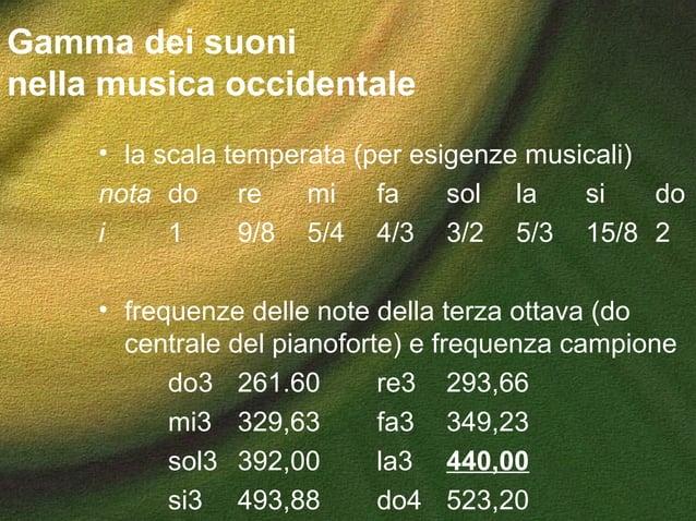 Gamma dei suoni nella musica occidentale • la scala temperata (per esigenze musicali) nota do re mi fa sol la si do i 1 9/...