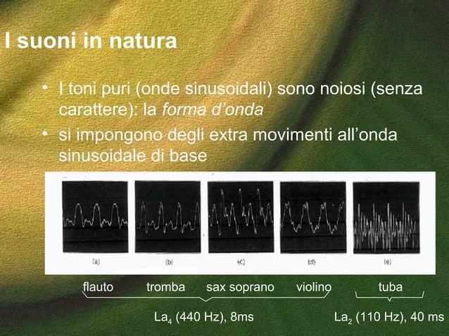 I suoni in natura • I toni puri (onde sinusoidali) sono noiosi (senza carattere): la forma d'onda • si impongono degli ext...