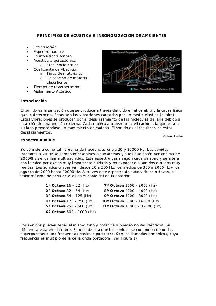 PRINCIPIOS DE ACÚSTICA E INSONORIZACIÓN DE AMBIENTES   •   Introducción   •   Espectro audible   •   La intensidad sonora ...