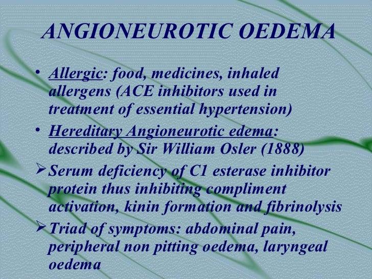 ANGIONEUROTIC OEDEMA-        TREATMENT• 36000 units of C1 INH• Recurrent attacks : use fibrinolytic  inhibitors like epsil...