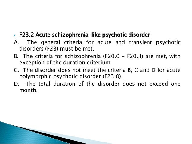 acute and transient psychotic disorders