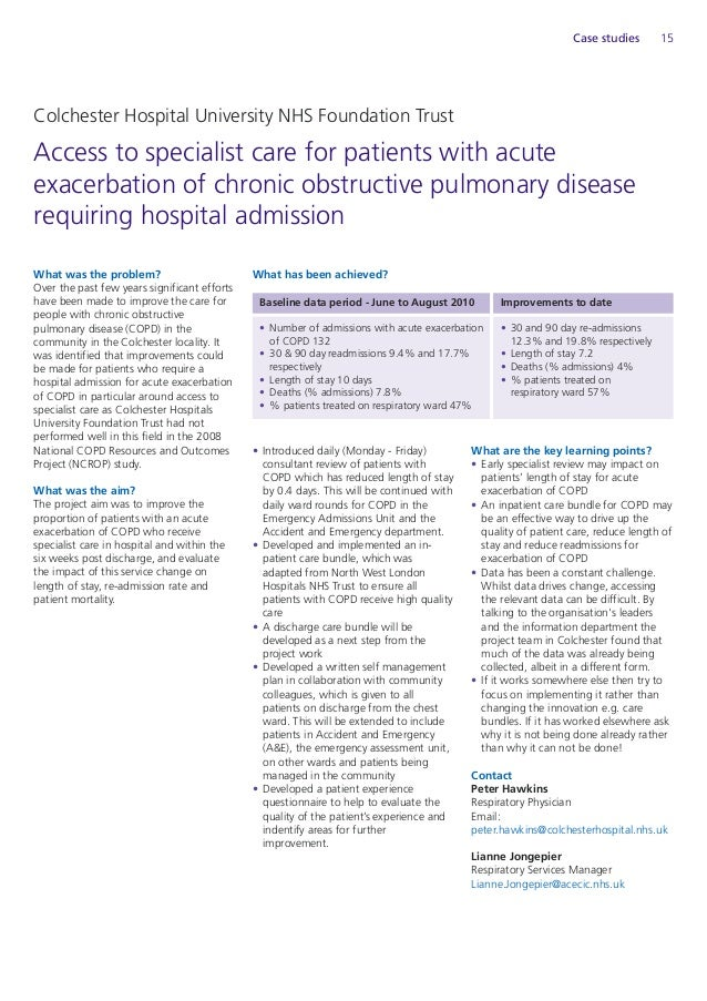 chronic obstructive pulmonary disease case study One study found that 126 percent of participants with copd  in the same study,  125 percent of pneumonia cases in people with copd were.