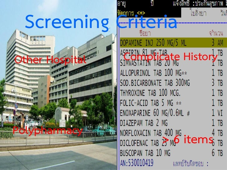 Screening CriteriaOther Hospital   Complicate HistoryPolypharmacy                        > 6 items