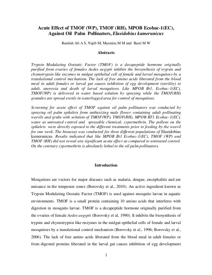 Acute Effect of TMOF (WP), TMOF (RH), MPOB Ecobac-1(EC),        Against Oil Palm Pollinators, Elaeidobius kamerunicus     ...