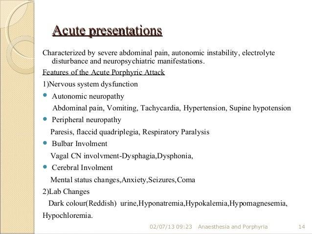 Acute Intermittent Porphyria Case Presentation on Autonomic Nervous System Dysfunction