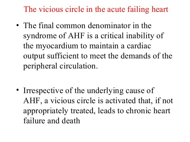 The vicious circle in the acute failing heart • The final common denominator in the syndrome of AHF is a critical inabilit...