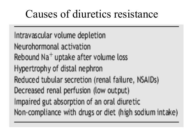 Causes of diuretics resistance
