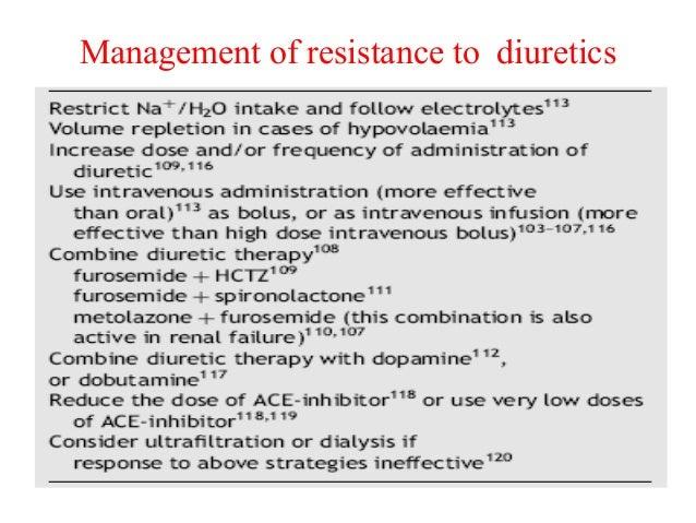 Management of resistance to diuretics