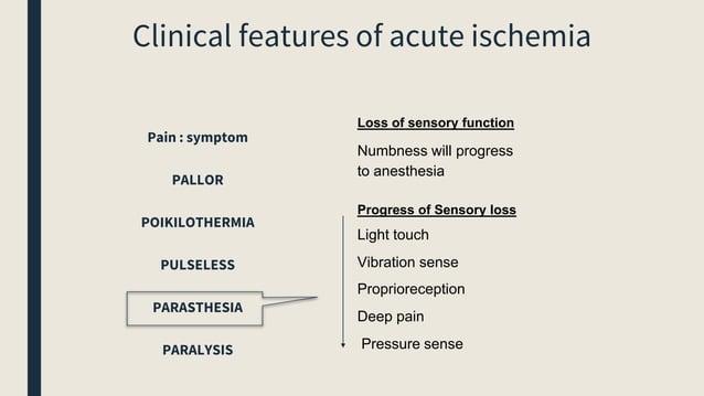 Loss of sensory function Numbness will progress to anesthesia Progress of Sensory loss Light touch Vibration sense Proprio...
