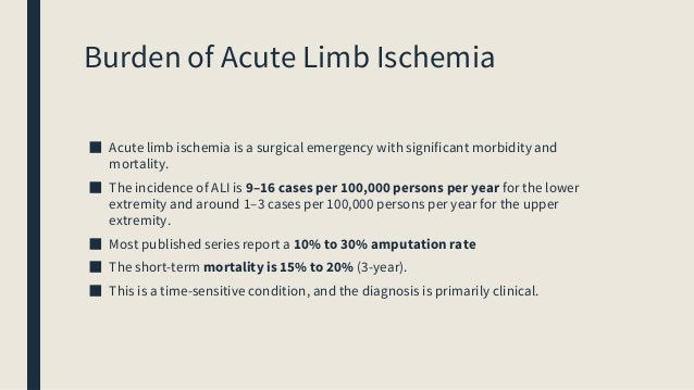 Burden of Acute Limb Ischemia ■ Acute limb ischemia is a surgical emergency with significant morbidity and mortality. ■ Th...