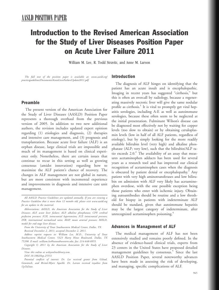 AASLD POSITION PAPER        Introduction to the Revised American Association          for the Study of Liver Diseases Posi...