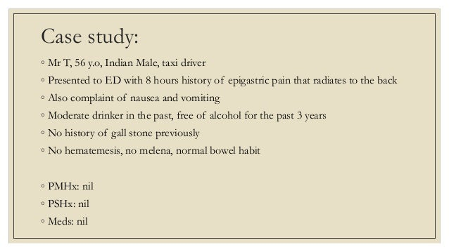 alcoholic pancreatitis case study Pissn 2320-6071 | eissn 2320-6012 research article a case control study of  possible additional risk factors for chronic alcoholic pancreatitis.