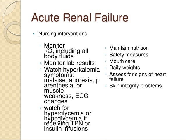 acute renal failure and nursing care essay This research is assessing how chronic kidney disease is being identified and managed in type ii diabetic patients, in the primary care setting, using a survey of 10,000 adult patients and their 500 primary care physicians.