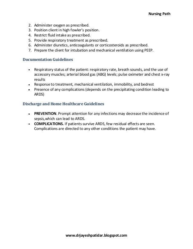 Acute respiratory distress syndrome nursing care plan ...