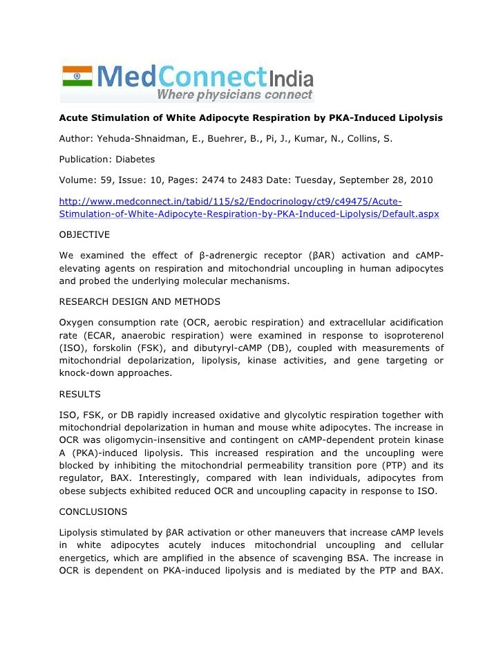 Acute Stimulation of White Adipocyte Respiration by PKA-Induced LipolysisAuthor: Yehuda-Shnaidman, E., Buehrer, B., Pi, J....