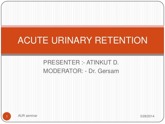 PRESENTER :- ATINKUT D. MODERATOR: - Dr. Gersam 3/28/2014AUR seminar1 ACUTE URINARY RETENTION