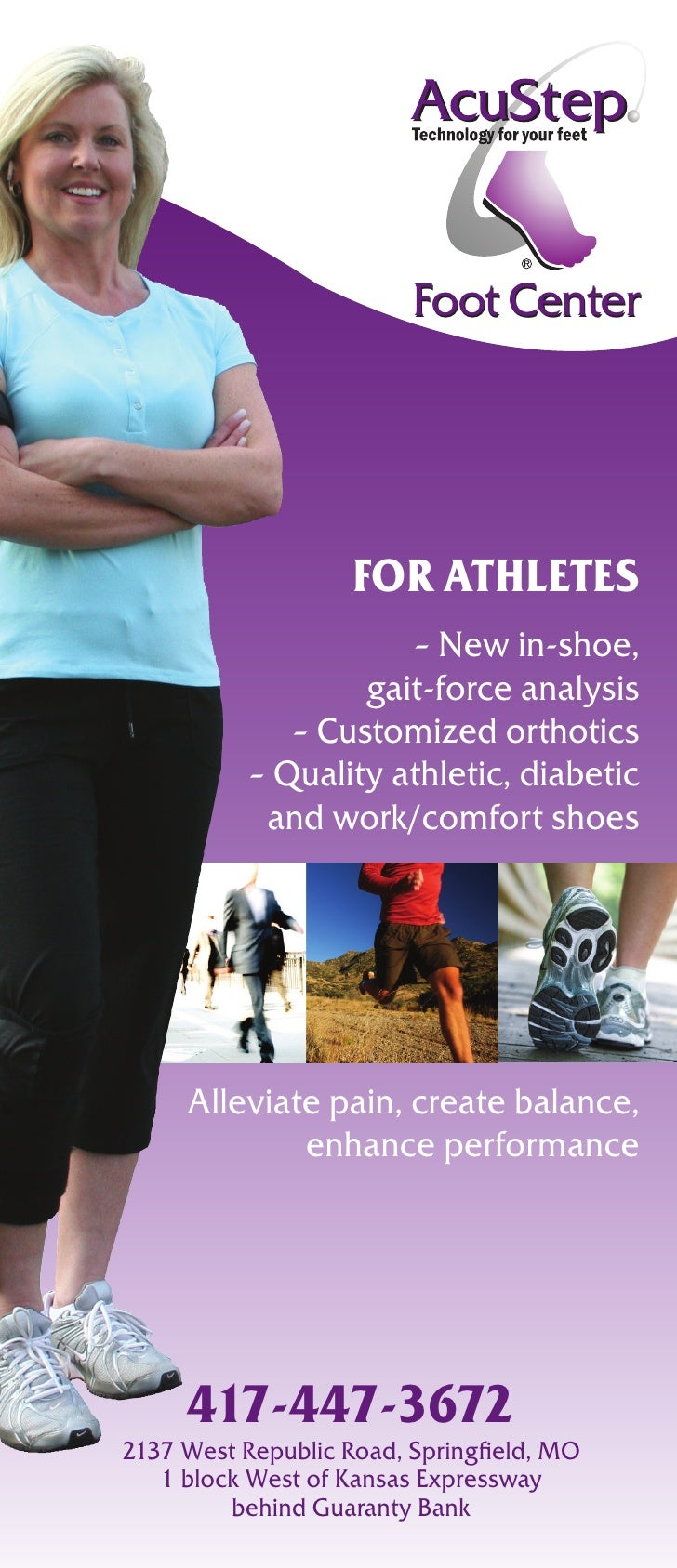 Foot Center                         For athletes                       – New in-shoe,                    gait-force analys...
