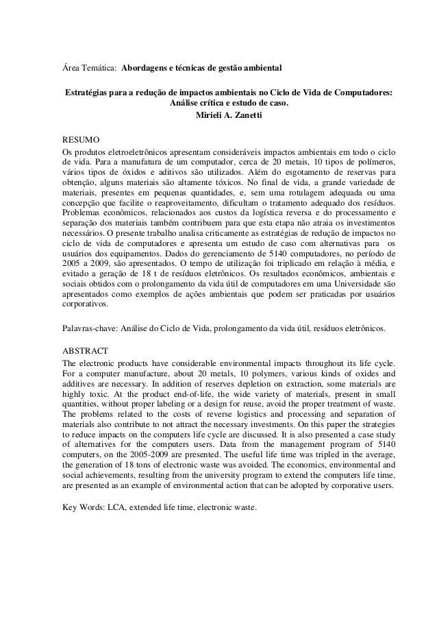 Área Temática: Abordagens e técnicas de gestão ambiental Estratégias para a redução de impactos ambientais no Ciclo de Vid...
