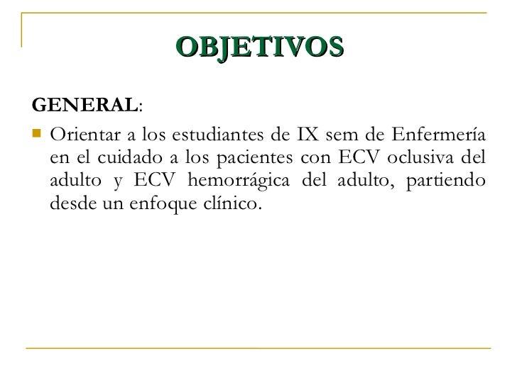 Acv isquemico for Objetivo general de un vivero