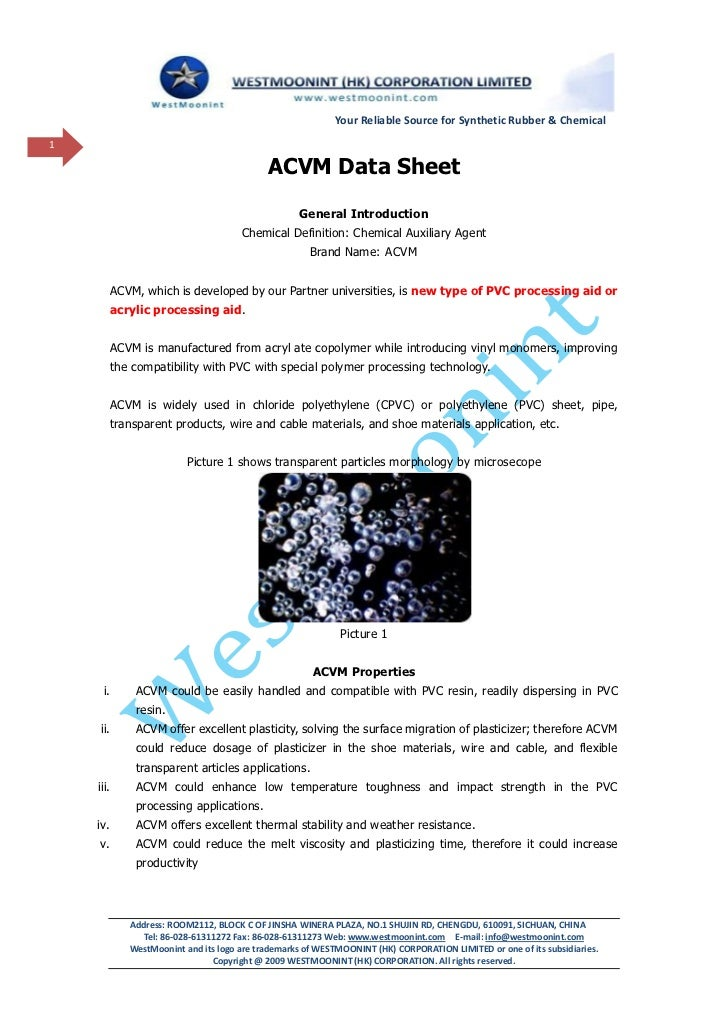 Your Reliable Source for Synthetic Rubber & Chemical1                                            ACVM Data Sheet          ...
