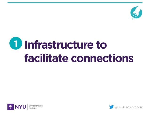 @NYUEntrepreneur Infrastructure to facilitate connections 1