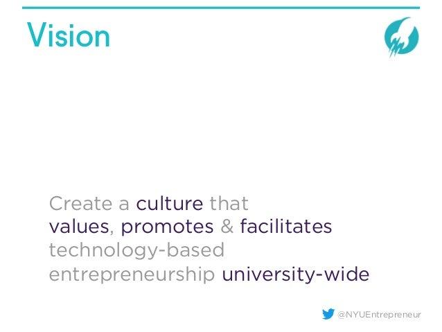 @NYUEntrepreneur Vision Create a culture that values, promotes & facilitates technology-based entrepreneurship university-...