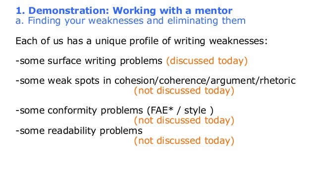 eliminating weaknesses in writing