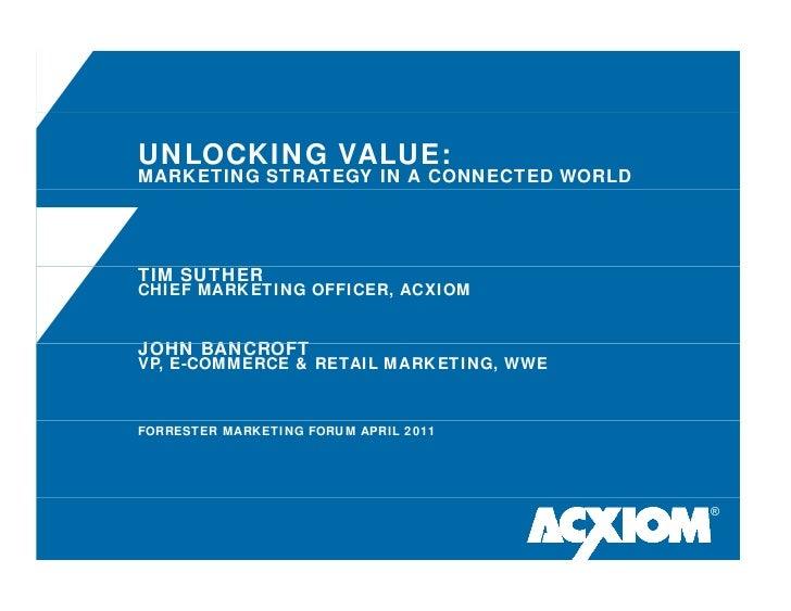 UNLOCKING VALUE:MARKETING STRATEGY IN A CONNECTED WORLDTIM SUTHERCHIEF MARKETING OFFICER, ACXIOMJOHN BANCROFTVP, E-COMMERC...