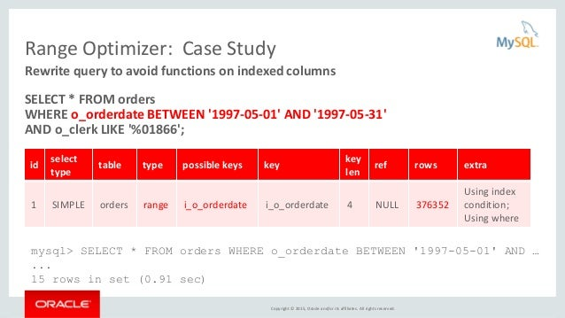 Copyright © 2015, Oracle and/or its affiliates. All rights reserved. Range Optimizer: Case Study SELECT * FROM orders WHER...