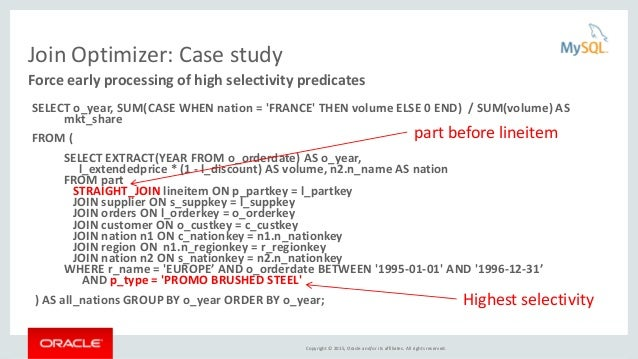 Copyright © 2015, Oracle and/or its affiliates. All rights reserved. Join Optimizer: Case study SELECT o_year, SUM(CASE WH...
