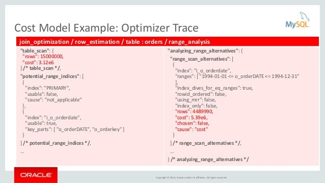Copyright © 2015, Oracle and/or its affiliates. All rights reserved. Cost Model Example: Optimizer Trace join_optimization...