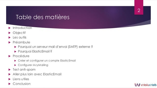 Joomla : AcyMailing et ElasticEmail Slide 2