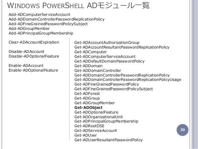 30 WINDOWS POWERSHELL ADモジュール一覧 Add-ADComputerServiceAccount Add-ADDomainControllerPasswordReplicationPolicy Add-ADFineGra...