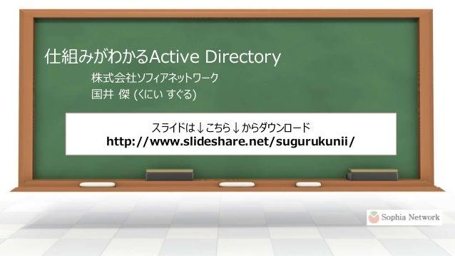 仕組みがわかるActive Directory 株式会社ソフィアネットワーク 国井 傑 (くにい すぐる) スライドは↓こちら↓からダウンロード http://www.slideshare.net/sugurukunii/