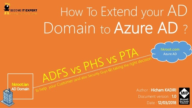 How To Extend your AD Domain to Azure AD ? hkroot.lan AD Domain hkroot.com Azure AD Author : Hicham KADIRI Document versio...