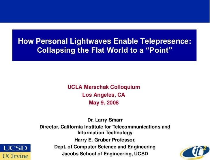 How Personal Lightwaves Enable Telepresence:     Collapsing the Flat World to a ―Point‖                     UCLA Marschak ...