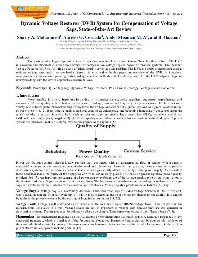 International Journal Of Computational Engineering Research (ijceronline.com) Vol. 3 Issue. 1   Dynamic Voltage Restorer (...