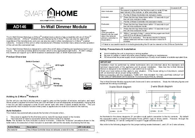 In-wall dimmer module Z-Wave Plus Smart Home Europe manual english on