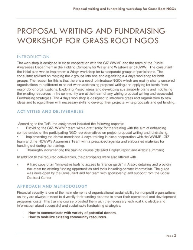 Proposal writing and fundraising workshop for Grass Root NGOs Final R – Writing a Fundraising Proposal