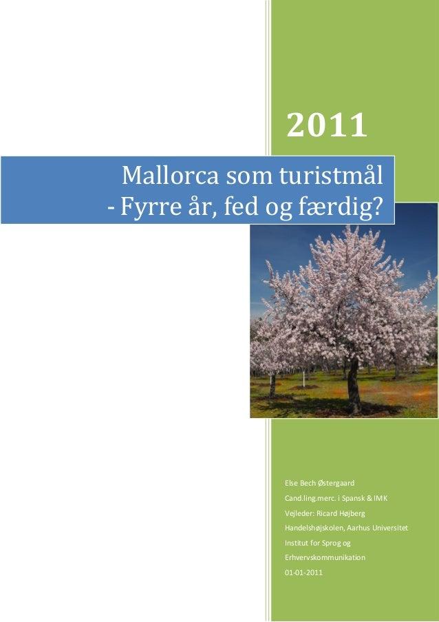 2011 Else Bech Østergaard Cand.ling.merc. i Spansk & IMK Vejleder: Ricard Højberg Handelshøjskolen, Aarhus Universitet Ins...