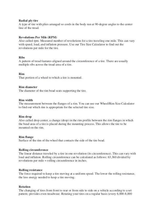 TireTyre Terminology - Tire Terms