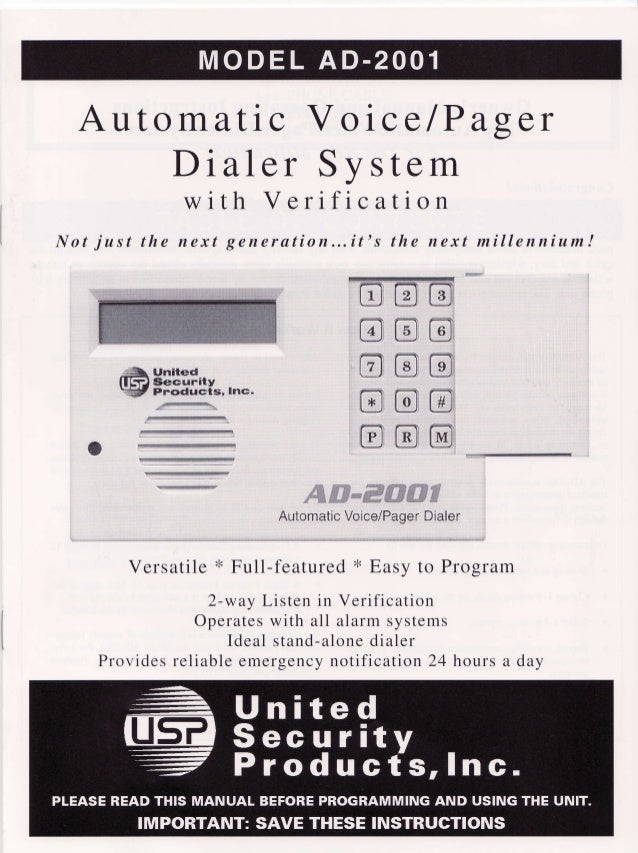 United Security AD2001 User Manual