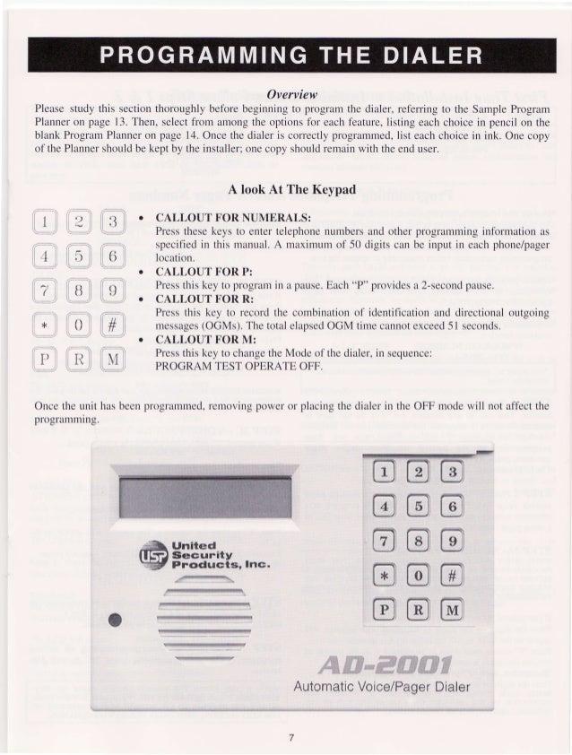 United Security AD2001 User Manual – Program Planner