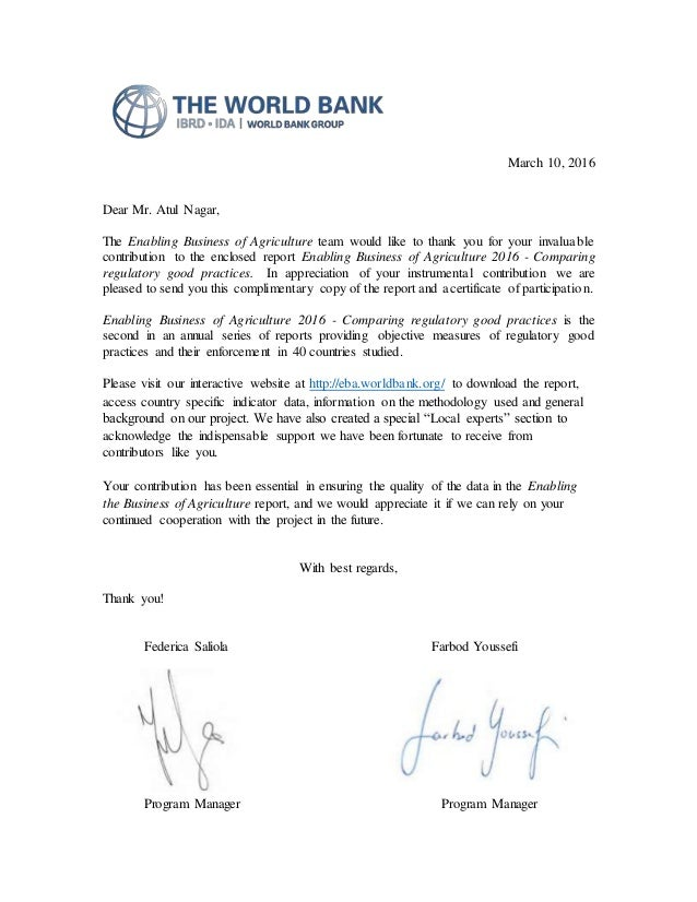 letter of recognition from world bank