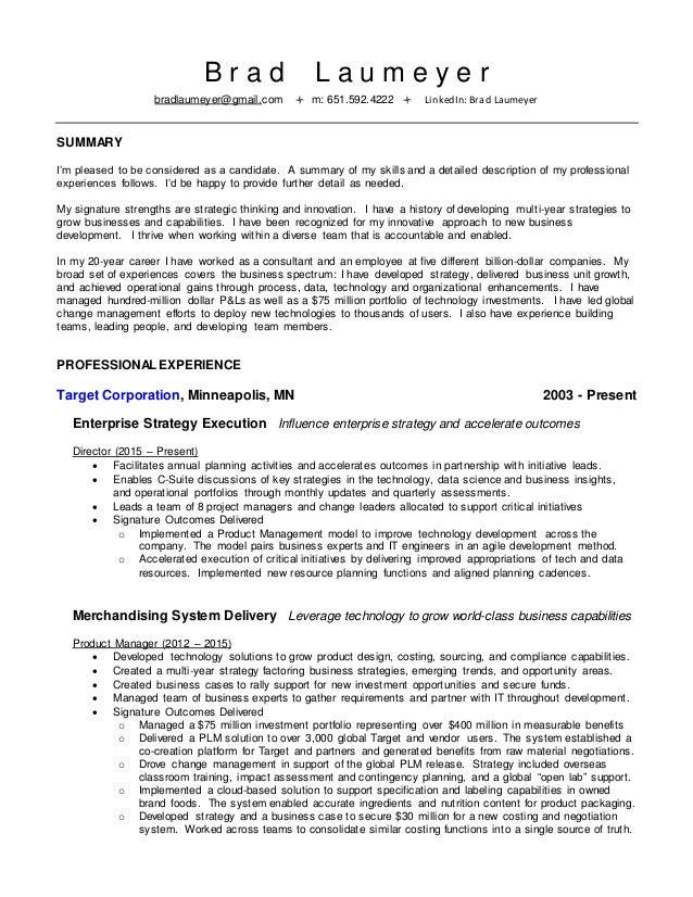 Target corporation resume