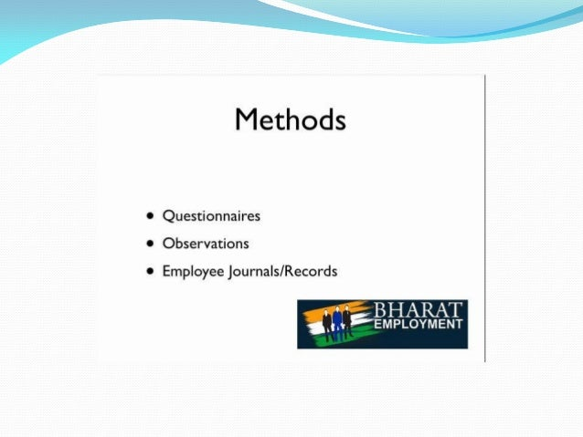 Methods  0 Questionnaires 0 Observations  0 Employee journals/ Records  s °* BHARAT  '_i, i. 'EMPLOYMENT