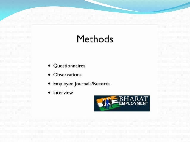 0 Questionnaires  Methods  Observations  Employee journals/ Records  Interview  sin  5-     BHARAT  EMPLOYMENT