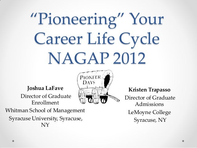 """""""Pioneering"""" Your Career Life Cycle NAGAP 2012 Joshua LaFave Director of Graduate Enrollment Whitman School of Management ..."""