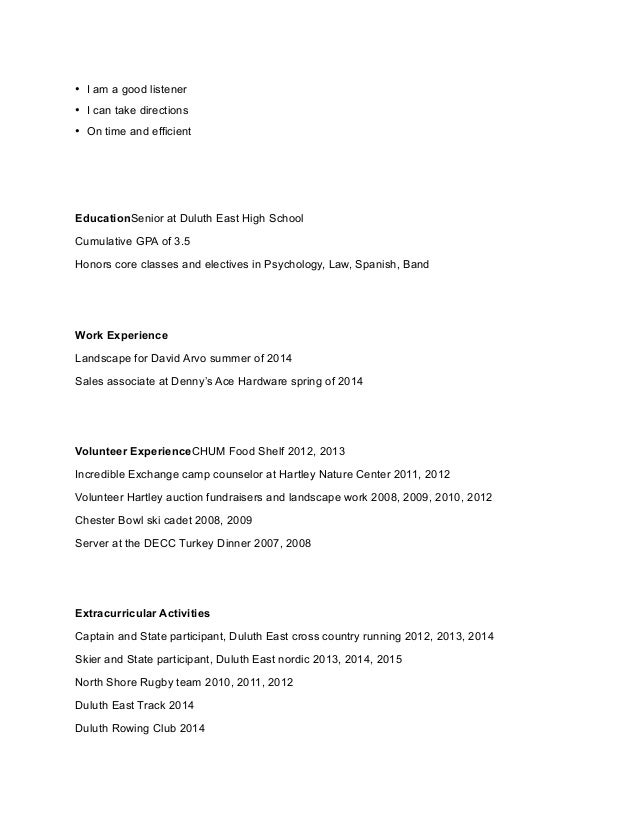 resume assignment and sample